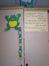 Compliment Chain (Low Tech): This intervention promotes pro-social behavior. The teacher starts a paper chain and adds a link whenever she notices good behavior from students in her class. Once the chain reaches the floor, the class gets a reward. Classroom Behavior Management, Behaviour Management, Behavior Incentives, Student Behavior, Future Classroom, School Classroom, Classroom Ideas, Classroom Resources, Organization And Management