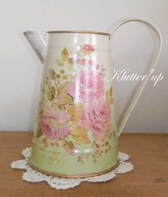 Chic Victorian Shabby Country MEDIUM TIN/METAL PITCHER VASE Pnk Roses w/ Green