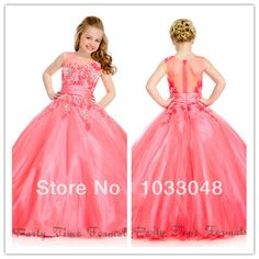 Latest Fashion Cute Kids Little Princess Communion Red Ball Gown Birthday Party Flower Girl Pageant Dresses For Weddings 2014 $55.00