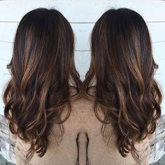 Warm brown hair with balayage