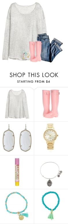 """""""oops I've been gone for a while"""" by hailstails ❤ liked on Polyvore featuring H&M, J.Jill, Hunter, Kendra Scott, Kate Spade, Burt's Bees and Alex and Ani"""