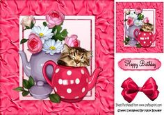 Sleepy kitty in teapot and roses with bow 8x8 on Craftsuprint - Add To Basket!