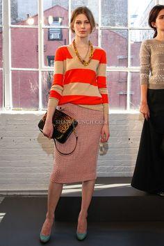 orange & camel with pink skirt