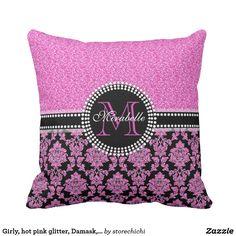 Girly, hot pink glitter, Damask, Name & Monogram