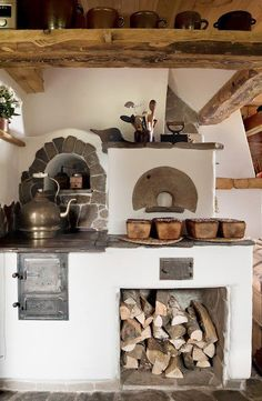 Hungarian Ski Chalet Kitchen in Creamy Stucco w/ Arched Nooks, Wood Beams, Fireplace and Brick