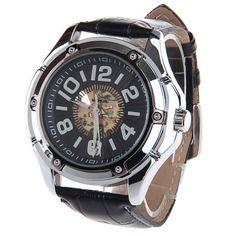 Hoy con el 62% de descuento. Llévalo por solo $73,700.HY-011 Hueco-hacia fuera de banda masculino mecánico automático del reloj de la PU.