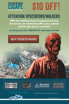 Attention Spectators/Walkers:  $10 discount code - Sign up as a #WalkingDead spectator.  #SDCC #ComicCon