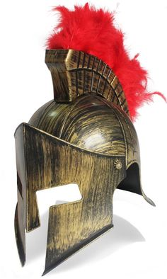 AmazonSmile: Roman Helmet Gold With Red Feathers Gladiator Helmet Holloween Costume Hat: Clothing