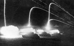 USSR. 1942. Tanks firing at night during the battle of Stalingrad. photo @ Dmitri BALTERMANTS.