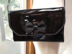 1990s shiny black patent vinyl rectangle shoulder by RightBankGirl, $28.12