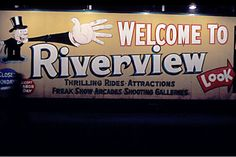 Welcome sign to Riverview Amusement Park, 1966, Chicago.
