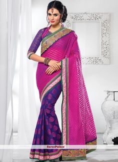 Purple And Magenta Half And Half Saree