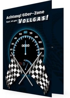 Einladungen 60. Geburtstag, Tacho Geschwindigkeit 60