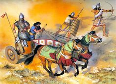 Assyrians: Chariot and infantry, 9th century BC
