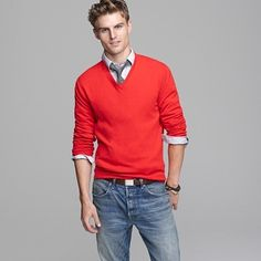 J Crew - simple, casual chic, bold sweater, collared shirt with tie and jeans