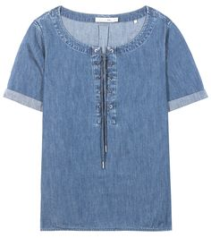 Rag & Bone - Denim blouse - A washed effect and cropped sleeves keep the look urban while the lace-up neckline gives the style a feminine finish. We like ours with a miniskirt and sneakers for an effortless look.@ www.mytheresa.com