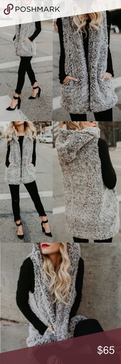 """Cozy Sherpa Hooded Vest with Pockets sold out Cozy Sherpa Hooded Vest with Pockets Fully Lined  Length: Shoulder to hem length on a size small measures 30"""" 100% Polyester Model is 5'7"""" and wears a Small No Trades Price is Firm Glamvault Jackets & Coats Vests"""