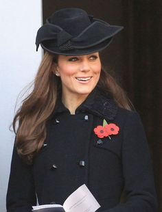 Flawless in a Diane Von Furstenberg coat and Jane Corbett hat at a Remembrance Day service at the Cenotaph war memorial in London
