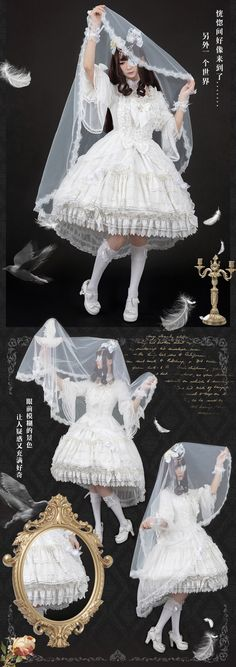 Black Angel and White Angel Unicolor Lolita OP Dress