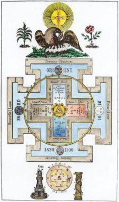 Freemasonic emblem   showing symbolism of the temple  - 18th century French engraving.