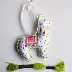 Channeling a little spring green today to combat the fall weather outside. This llama ornament is now on pre-orders in the shop! Yay for llamas!