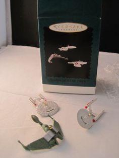 Hallmark-Boxed-The-Ships-of-Star-Trek-Miniature-Ornaments-Three-Ships