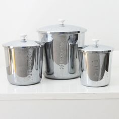Beautiful Vintage Stainless Steel Kitchen Canisters