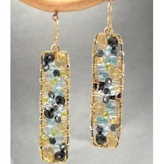 Hammered drop earrings black spinel, citrine, peridot, apatite Bohemian 138