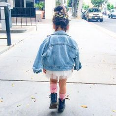 Remembering that magical party with yesterday at Tulle Skirt: Socks: Boots: Denim Jacket: Baby Fall Fashion, Little Girl Fashion, Toddler Fashion, Kids Fashion, Fashion Shoes, Style Fashion, Cute Outfits For Kids, Toddler Outfits, Cheap Kids Clothes Online