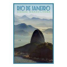 Vintage Rio de Janeiro Travel Poster - cyo diy customize unique design gift idea