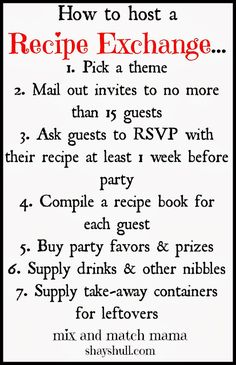 How to host a recipe exchange! Good idea for a party when there are no holidays in sight.