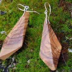 Boucles d oreilles en bois d olivier et argent massif