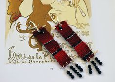 silver & cotton dark red handwoven long by JewelryByFlorita