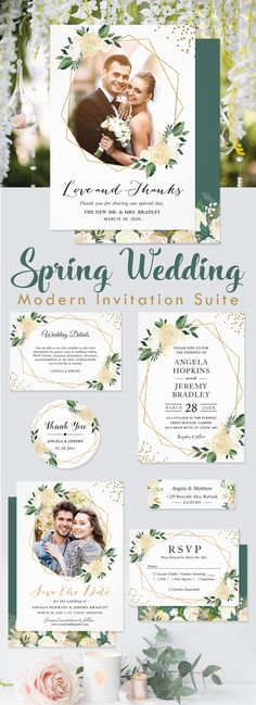 A Modern Gold Frame Ivory Green Floral Invitations Suite, with items from Invitations to RSVP card, Thank You Card, Save the Date Card, Information Card and more. Wedding Invitation Trends, Spring Wedding Invitations, Floral Invitation, Wedding Themes, Invite, Wedding Postage Stamps, Save The Date Cards, Wedding Details, Ivory