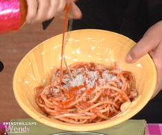 Cat Cora's Pasta with Bacon Sauce and Orange, Fennel, and Kalamata Olive Salad. #recipes #wendywilliams