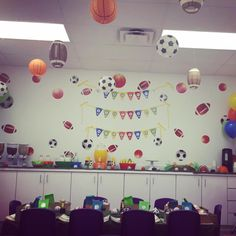 Footballs, soccer balls, basketballs and baseballs were the main characters for our party theme!