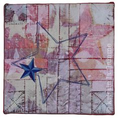 "Americana VI, 10x10"" quilted art on canvas by Kristin La Flamme."