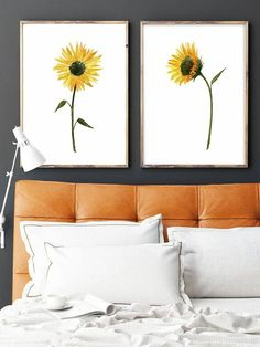 Set of 2 Watercolor Sunflower Love Decor Yellow Elegant Art by LadyWatercolor | Etsy #sunflower #yellow #watercolor #set #art #picture #poster #art #prints #love #decor #plant #flower #elegant