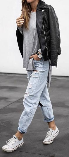 street style outfit idea: biker jacket + ripped jeans