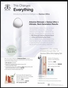 Arbonne's new Genius Ultra! It's a skin care device that uses ultrasound technology to help your skin care products penetrate deeper into the layers of the skin, enhancing their effectiveness. The future of anti-aging skin care has arrived! Organic Skin Care, Natural Skin Care, Arbonne Consultant, Independent Consultant, Arbonne Business, Sensitive Skin Care, Skin Care Tools, Ultrasound, Anti Aging Skin Care