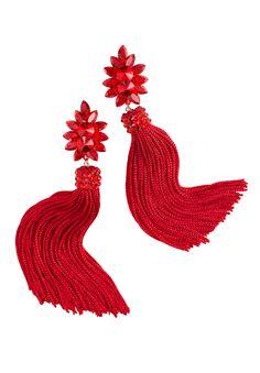 Zerlina Crystallized Red Fringe Earrings FC309| Dancesport Fashion @ DanceShopper.com