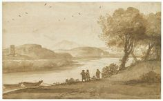 """claude lorrain - """"view of the tiber near the torre di quinto"""", ca. 1640-1645, graphite, pen and brush in brown ink, white highlights. (louvre, paris)"""