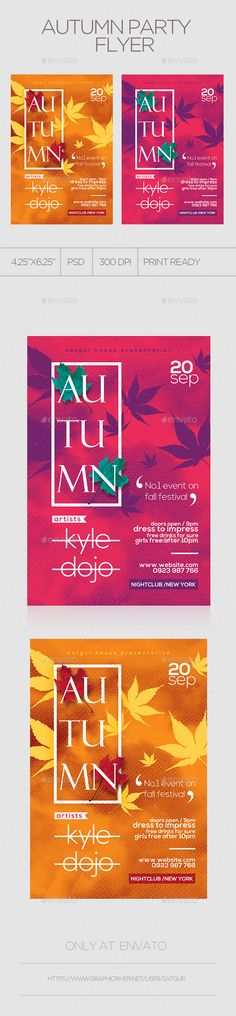 Autumn Party Flyer Template PSD. Download here: https://graphicriver.net/item/autumn-party-flyer/17604759?ref=ksioks
