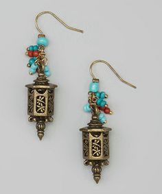 Another great find on #zulily! Gold & Turquoise Dragonfly Lantern Drop Earrings #zulilyfinds