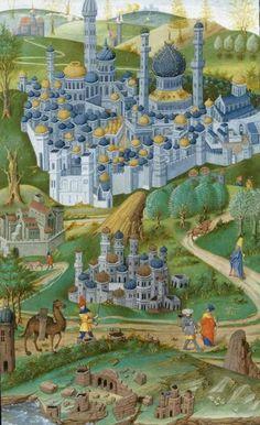 Os viajantes medievais. Cidade murada. A partir do século XV. BNF. Paris. France.