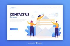 Contact us concept for landing page Vector Simple Web Design, Creative Flyer Design, Creative Flyers, Landing Page Inspiration, Ship Vector, Vector Free Download, Contact Us, Flat Illustration, Page Design