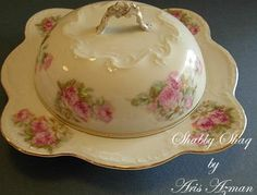 Austrian 2 piece Butter Dish Set in golden yellow with pink roses (could be transferware?)