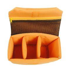 Medium DSLR Camera Bag Insert with Padded Velcro Flap Purse Handbag Dividers Removable Insert Adjustable Dividers in orange on Etsy, $22.15 AUD