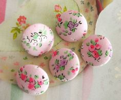 Fabric Buttons Covered Button Fridge Magnets Flower by RetroNaNa, $4.20
