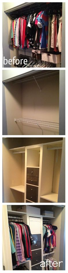 How to replace a standard metal closet with a custom closet system made from an IKEA Expedit - a great simple inexpensive hack for a custom organized closet system! Ikea Closet Storage, Ikea Closet Hack, Closet Redo, Closet Hacks, Master Bedroom Closet, Walk In Closet, Diy Storage, Closet Organization, Storage Room